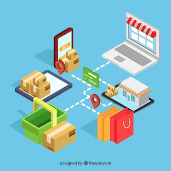 E-commerce elementen met verschillende apparaten