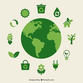 Eco aarde en groene pictogrammen
