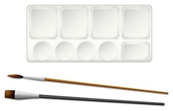Een bovenaanzicht van de penselen en een inktlade