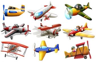 Een groep vliegtuigen