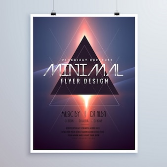 Een minimale ruimte thema flyer template design met glanzende licht effect