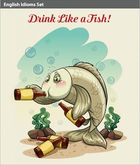 Een poster die het drinken lijkt als een vis idioom
