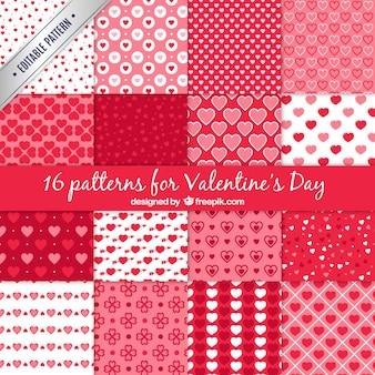 Een set van 16 vector patronen voor Valentijnsdag