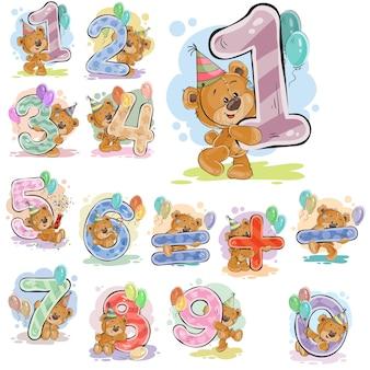 Een set vectorillustraties met een bruine teddybeer en cijfers en wiskundige symbolen.