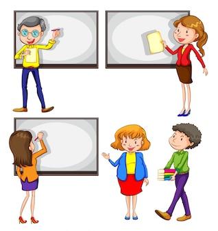 Een tekening van de mannelijke en vrouwelijke leraren op een witte achtergrond