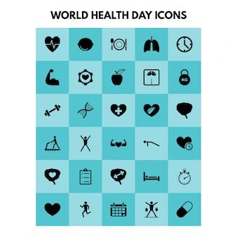 Eenvoudige gezondheids iconen instellen Universeel gezondheids icoon dat gebruikt wordt voor web- en mobiel-gebruikersinterface met basis-UI-gezondheidselementen