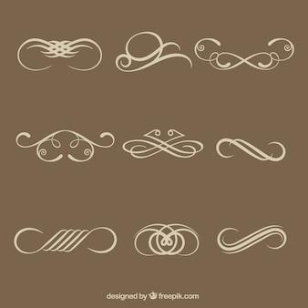 Eenvoudige kalligrafische decoratieve elementen