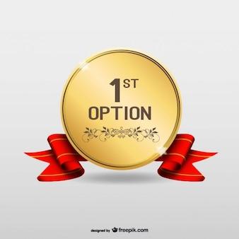 Eerste optie goud vector medaille