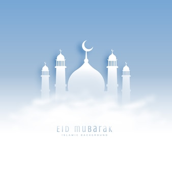 Eid mubarak achtergrond met moskee en wolken