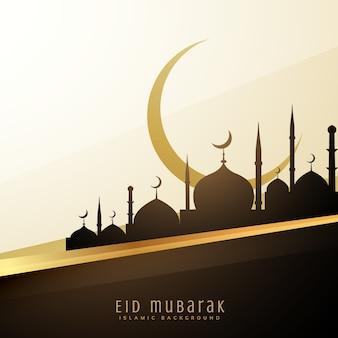 Eid wensen achtergrond met moskee en maan