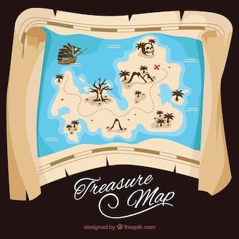 Eiland kaart met piraat schat