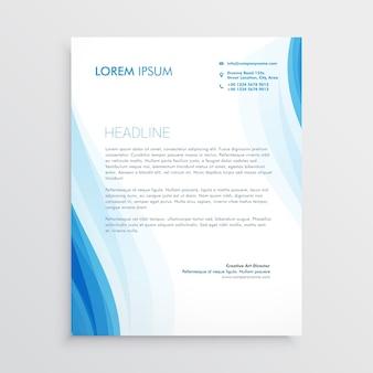 Elegant blauw briefhoofd ontwerp sjabloon met golvende vorm