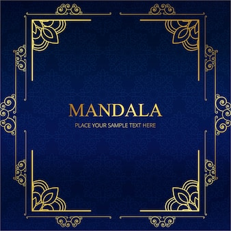 Elegant blauw mandala frame ontwerp
