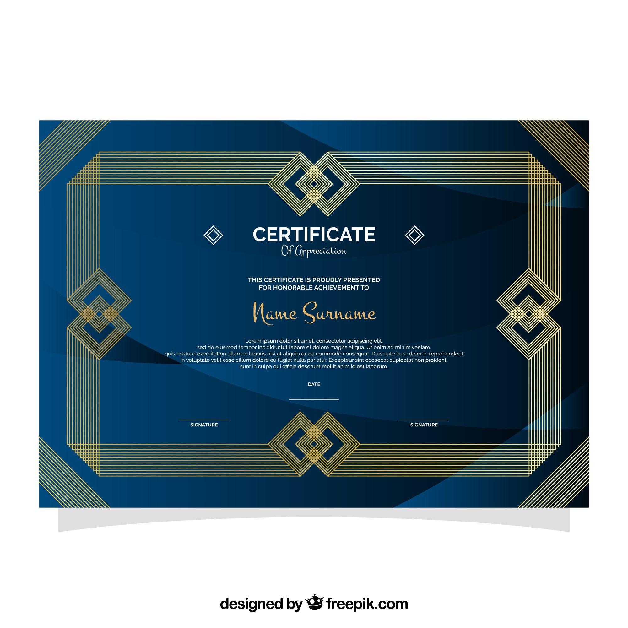 Elegant certificaat of excellence