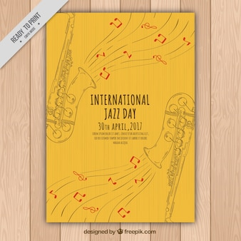 Elegant jazz brochure van saxofoon sketches
