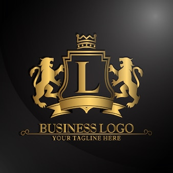 Elegant logo met twee leeuwenontwerp