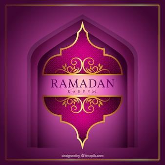 Elegant ramadan achtergrond in paarse tinten