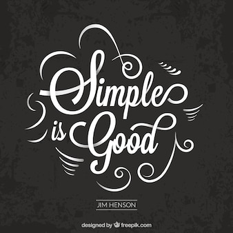 """Elegant vintage """"de eenvoudige is goed"""" citaat"""