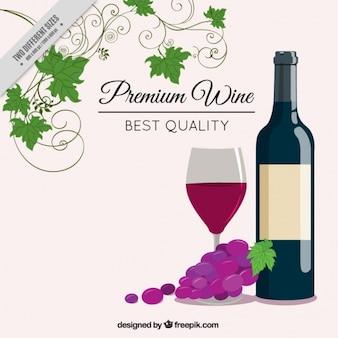 Elegante achtergrond met fles wijn