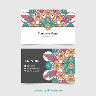 Elegante corporate kaart met gekleurde mandala
