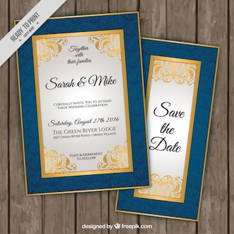 Elegante huwelijksuitnodigingen met blauwe en gouden rand