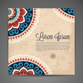 Elegante Indiase versiering op een donkere achtergrond Stijlvol ontwerp Kan gebruikt worden als wenskaart of trouwuitnodiging
