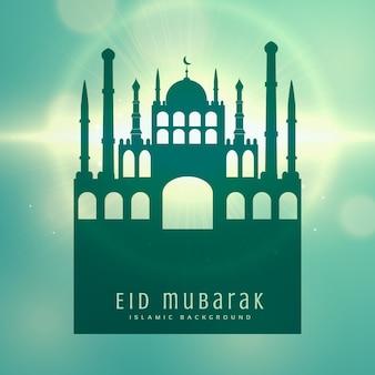 Elegante Moslim Eid festival kaart ontwerp achtergrond