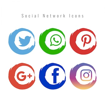 Elegante sociale netwerk iconen set