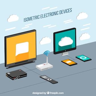Elektronische apparaten in isometrische stijl