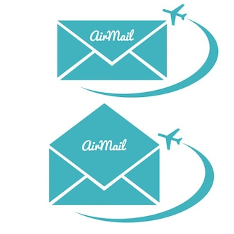 Envelop met luchtpost teken