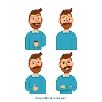 Expressieve zakenman karakter met blauwe trui