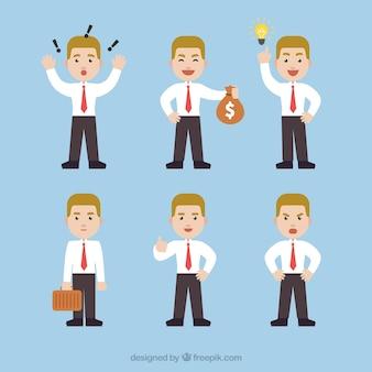 Expressieve zakenman karakter pak