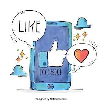 Facebook achtergrond met mobiele telefoon en tekstballonnen