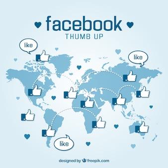 Facebook duim omhoog achtergrond