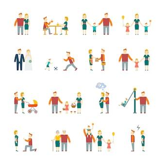 Familie cijfers plat pictogrammen set van ouders kinderen getrouwd paar geïsoleerde vector illustratie