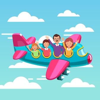 Familie toeristen die samen met elkaar vliegen op vliegtuig