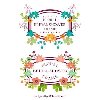 Fantastische bruiloft frames met gekleurde bloemen