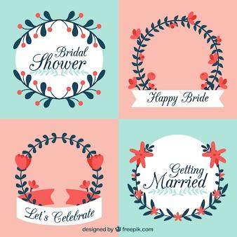 Fantastische bruiloft frames met rode bloemen in plat design