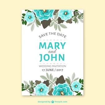 Fantastische bruiloftuitnodiging met blauwe bloemen