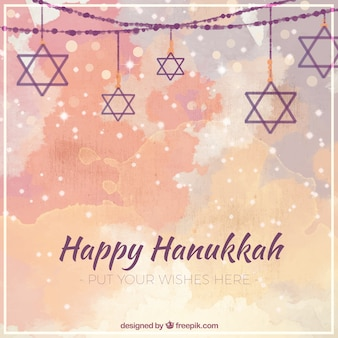 Fantastische hanukkah achtergrond in aquarel stijl
