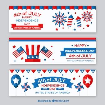 Fantastische onafhankelijkheidsdag banners met gekleurde elementen