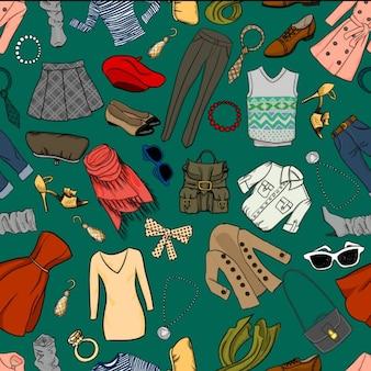 Fashion cartoon naadloze achtergrond