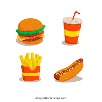 Fast food ontwerpt collectie