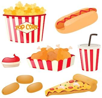 Fastfood ingesteld met hotdog en popcorn