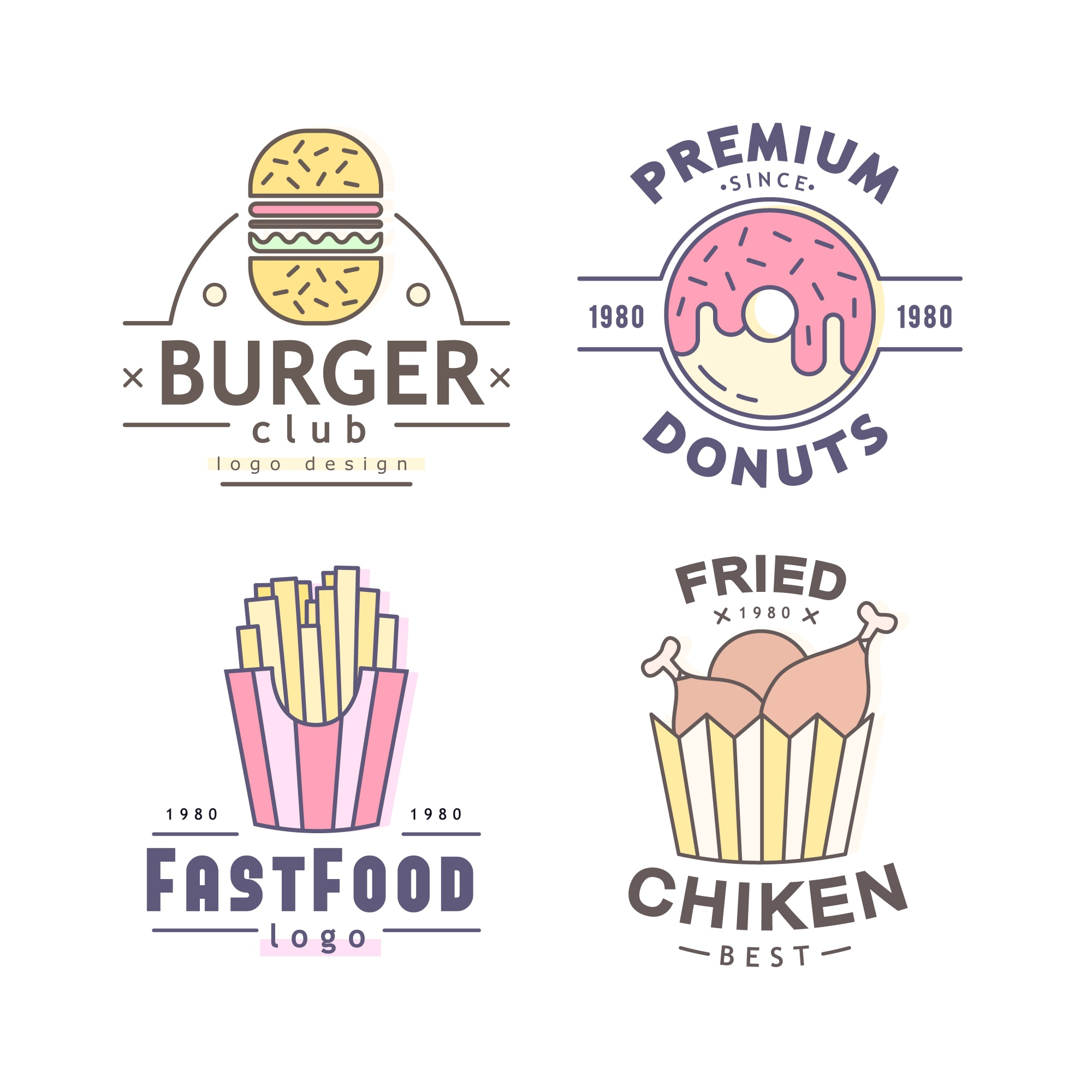 Fastfood logo collectie