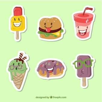 Fastfood stickers met grappige stijl