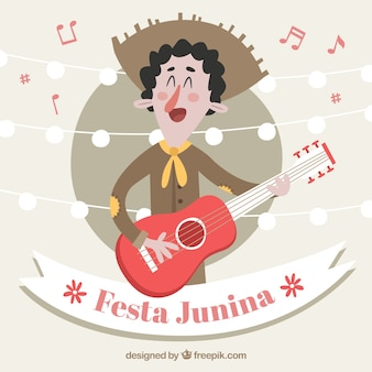 Festa junina achtergrond met man playin gitaar