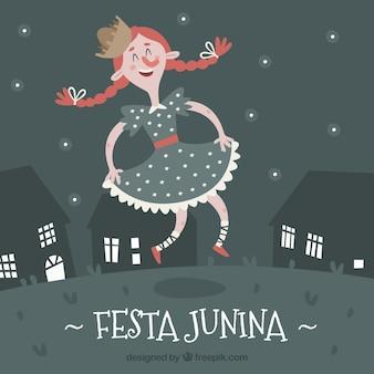 Festa junina achtergrond met meisje dansen