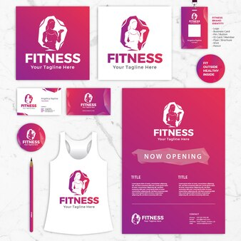 Fitness Brand Identity Vector Sjablonen, Logo, Visitekaartje, ID-kaart, Shirt, Flyer, Brochure, Pin, Potlood