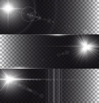 Flare lichten geïsoleerd op transparantie achtergrond